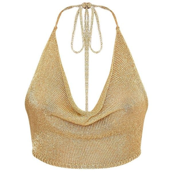 Caoimhe Gold Metallic Cowl Neck Knitted Top (39 BAM) ❤ liked on Polyvore featuring tops, white crop tops, halter neck tops, metallic gold crop top, tie halter top and halter-neck tops