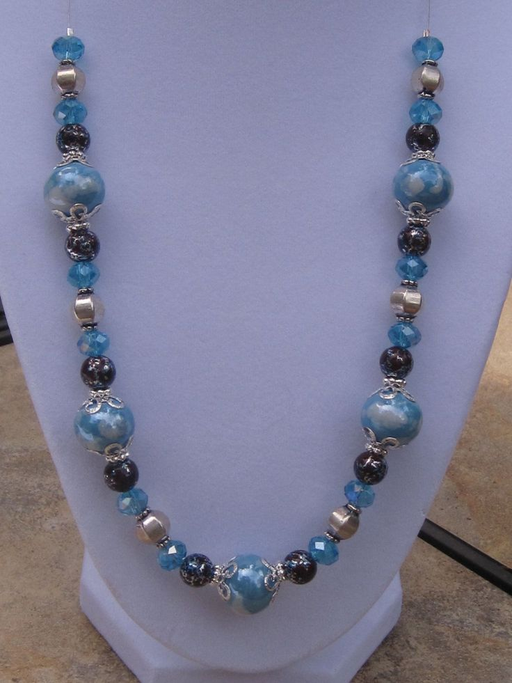 Blue Ceramic Beaded Necklace, Silver Necklace, Beaded Jewelry, Handcrafted Jewelry, Fashion Jewelry. $25.00, via Etsy.