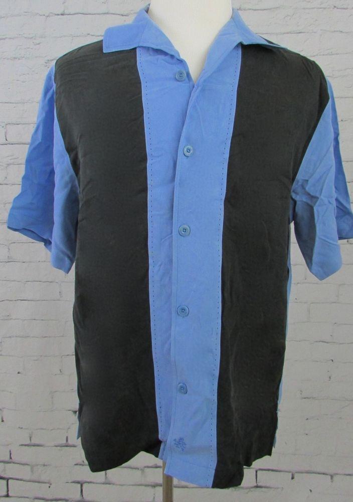 Men's Nat Nast Charlie Sheen Bowling Camp Shirt Size Medium Blue Black  #NatNast #ButtonFront