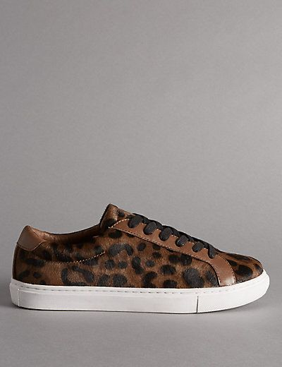 Leopard Leather Lace Up Trainers | M&S