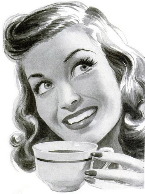 A cheerful tea drinking housewife from 1945