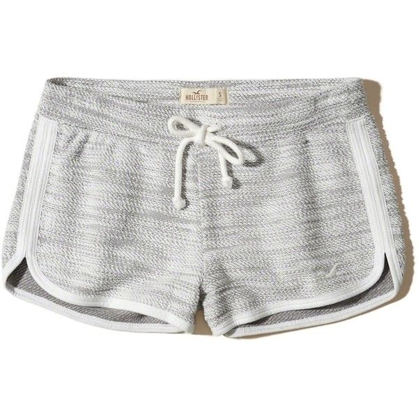 Hollister Textured Curved Hem Icon Shorts ($20) ❤ liked on Polyvore featuring shorts, heather grey, curved hem shorts and hollister co. shorts