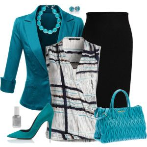 Cute combination of colors.  Love the jacket & purse.  Have a skirt very much like that one.