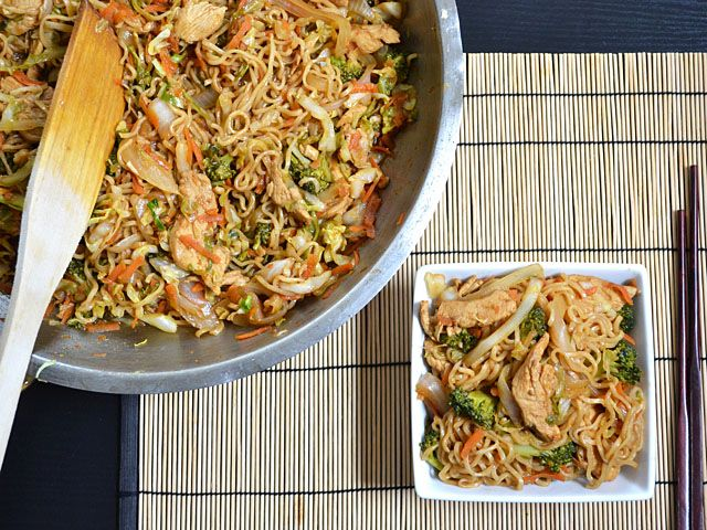 chicken yakisoba - Budget Bytes - using Ramen Noodles. Under $4 to feed a family.