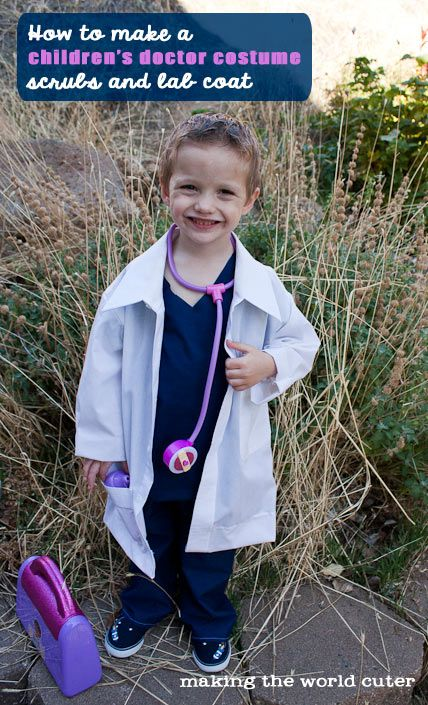 See how I made a cute children's doctor costume including scrubs and a doctor coat out of a men's dress shirt. Cute and easy!