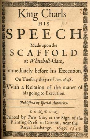 King Charls, His speech made upon the Scaffold, 1648