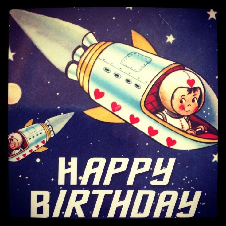 Retro Space Boy Happy Birthday Card