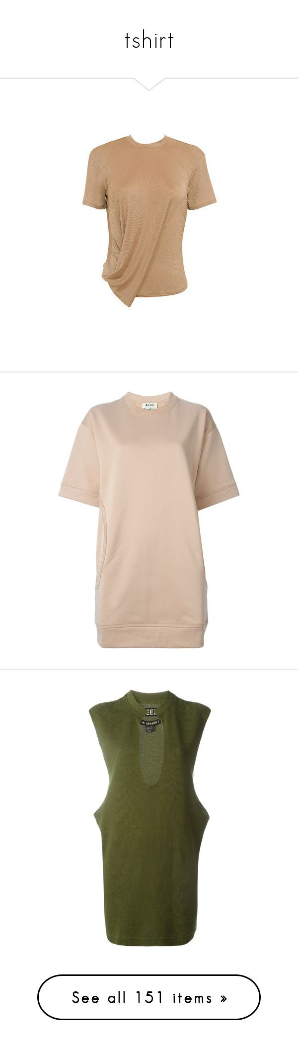 """""""tshirt"""" by neide-goncalvesbrito on Polyvore featuring tops, t-shirts, sand t shirt, beige top, knit t shirt, beige t shirt, short sleeve tee, dresses, short sleeve dress et short-sleeve dresses"""