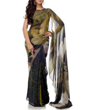 Olive Sari With Digital Print $250