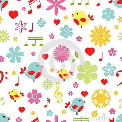 Kwiatów Ptaki I Muzyk Notatek Bezszwowy Wzór Zdjęcia Stock – 1 Kwiatów Ptaki I Muzyk Notatek Bezszwowy Wzór Obrazy Stock, Fotografia I Obrazy Stock - Dreamstime
