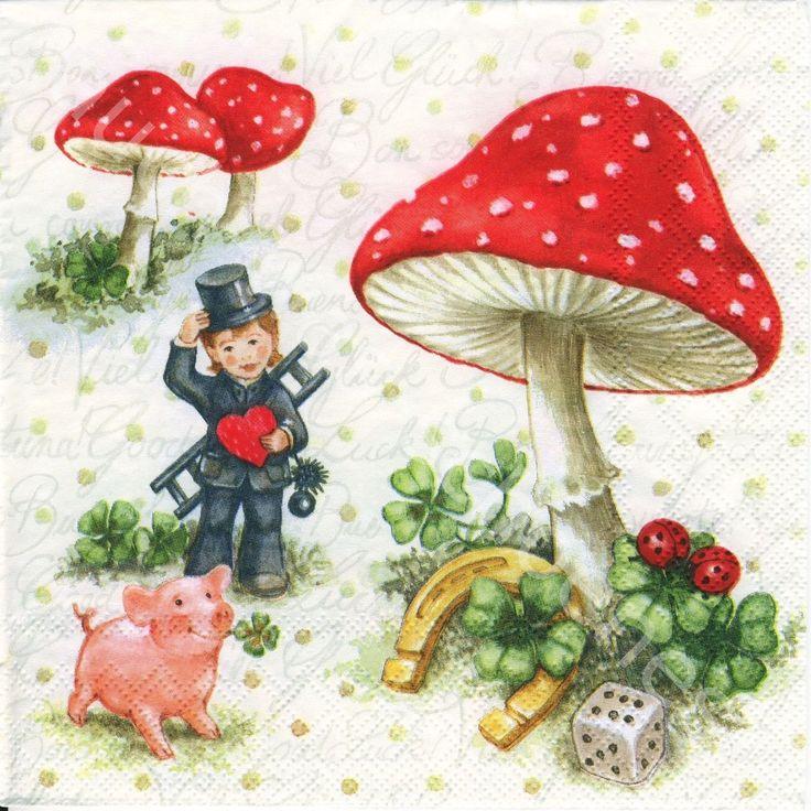 6 Servietten Napkins Glück - Symbole - Pilz - Schwein - Schornsteinfeger lv035 in Möbel & Wohnen, Hobby & Künstlerbedarf, Serviettentechnik | eBay