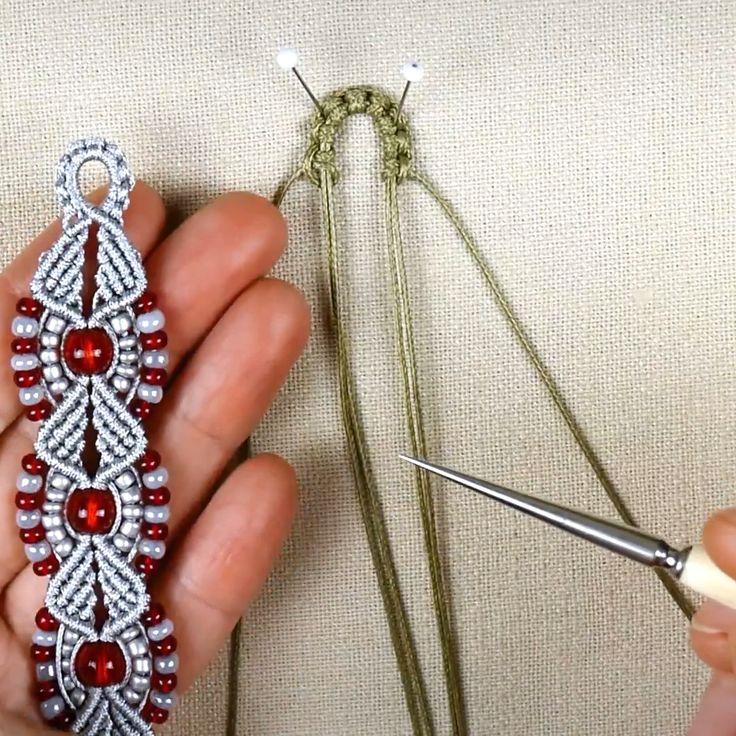 Make Beaded Macramé Flower & Leaf Bracelet -  Make Beaded Macramé Flower & Leaf Bracelet  - #beaded #Beadedjewelry #bracelet #diysilvernecklake #flower #jewelrydiybracelets #leaf #macrame