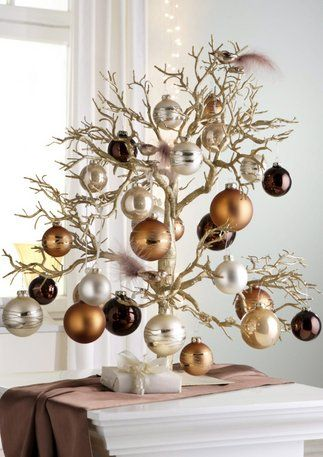 Tabletop Christmas Tree with copper, silver, chocolate ornaments