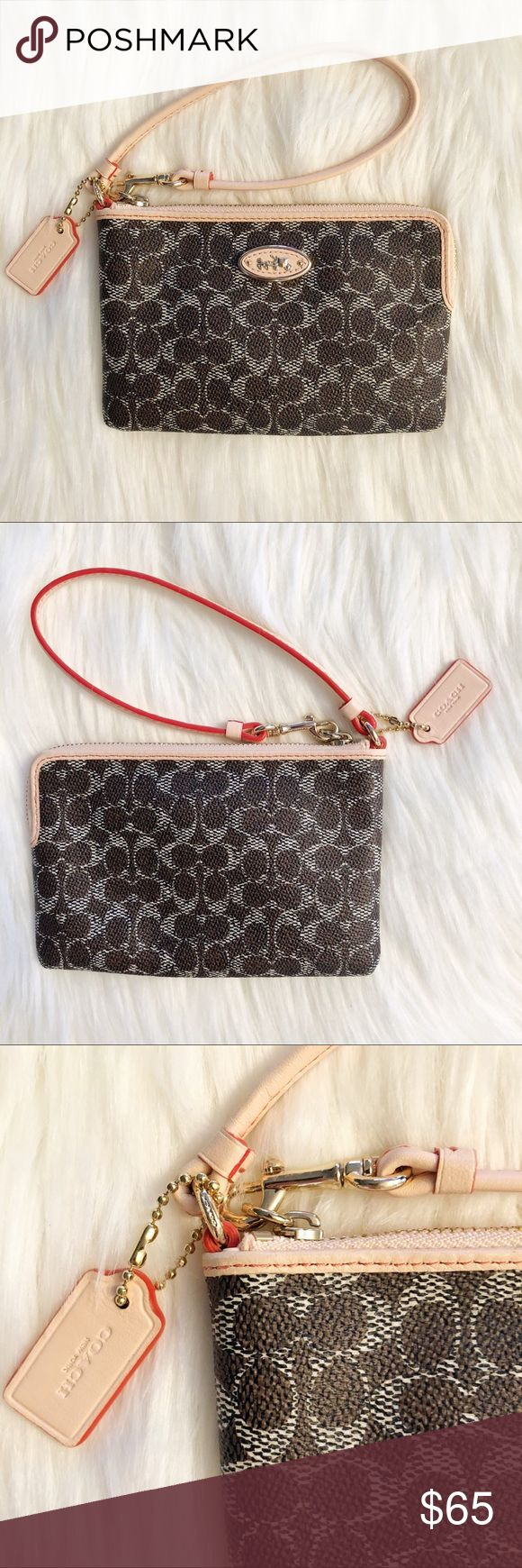 ↠NWT↞ Coach Clutch/Wallet BRAND NEW WITH TAGS! Authentic Coach clutch wallet. Includes tags, care instructions and note of authentication. Brown, light peach and dark peach trim and interior. Inside pockets. Coach Bags Clutches & Wristlets