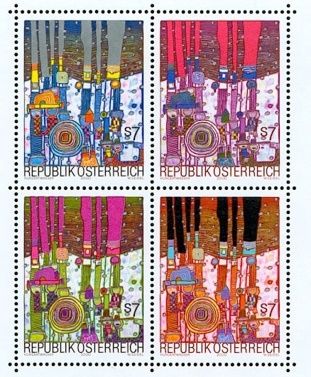 These gems are #Austrian #PostageStamps by #FriedensreichHundertwasser.