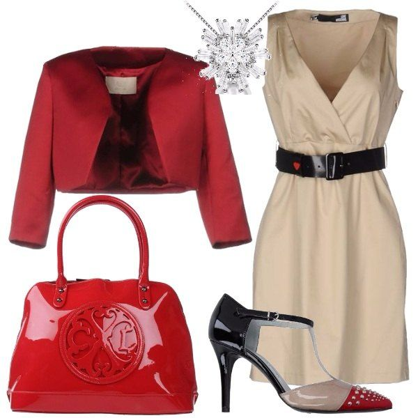Per un matrimonio o una cerimonia in primavera, propongo questo meraviglioso vestito corto con collo a V, giacca monopetto, borsa a mano effetto verniciato, décolleté in pelle con punta stretta ed una bellissima collana.