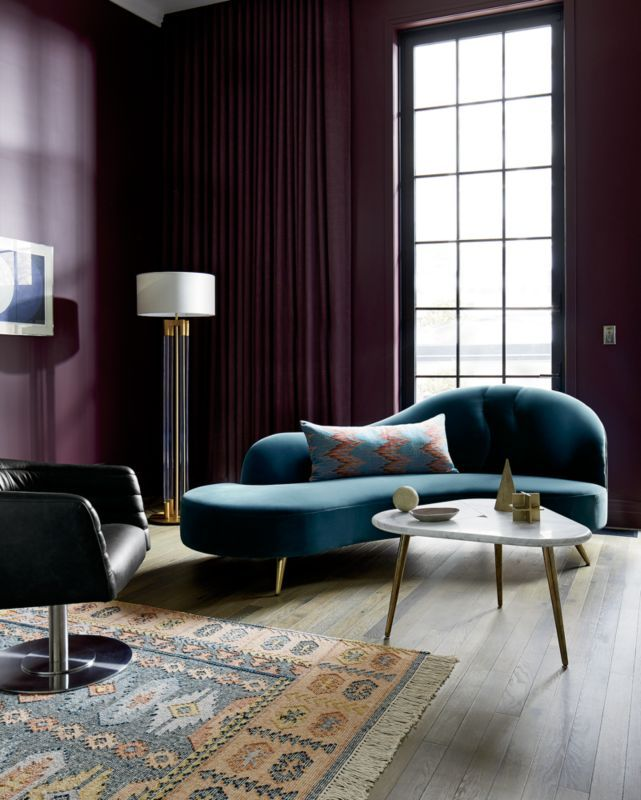 Copine Peacock Velvet Curved Chaise Lounge In 2020 Living Room