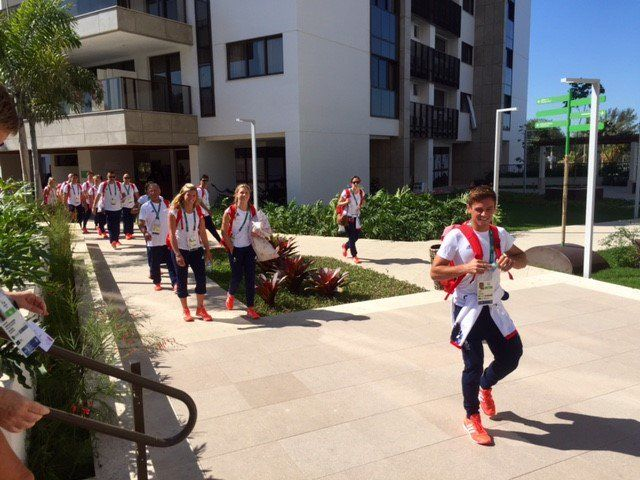 The GB divers have arrived in Rio Olympic village.  Tom leads them in.