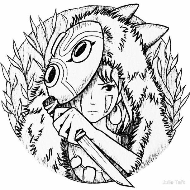 Princess Mononoke Coloring Pages Studio Ghibli Tattoo Ghibli Tattoo Ghibli Art