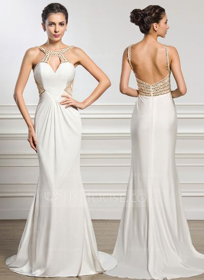 [US$ 177.49] Trumpet/Mermaid Scoop Neck Sweep Train Jersey Evening Dress With Ruffle Lace Beading