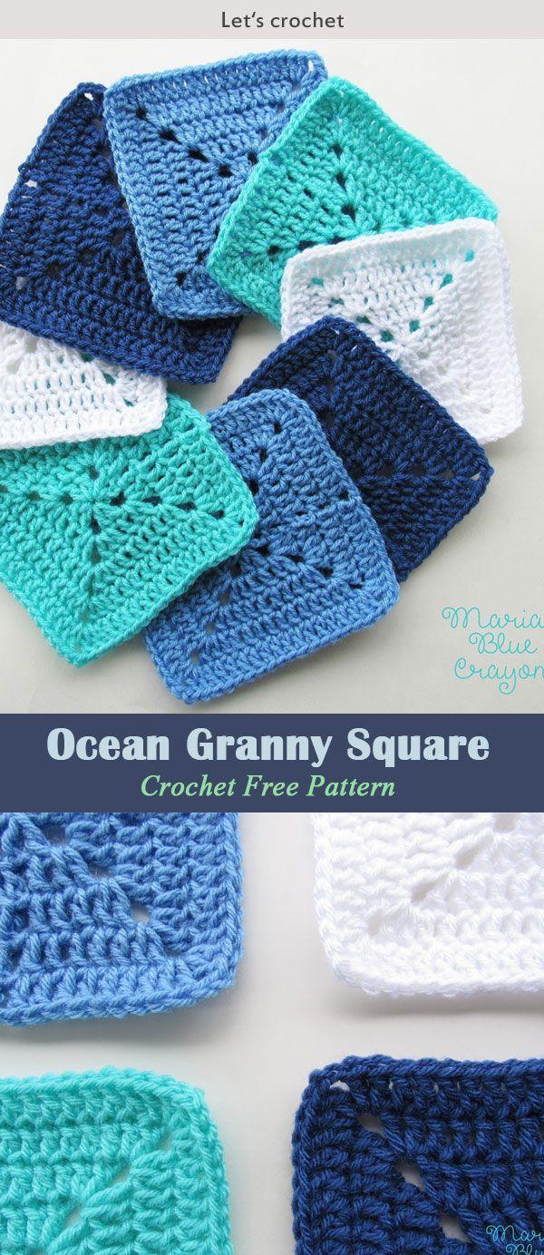 Ocean Themed Granny Square Afghan Series Crochet Pattern #freecrochetpattern #gr…