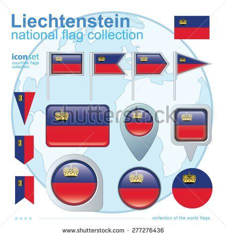 Flag of Liechtenstein, icon collection, vector illustration