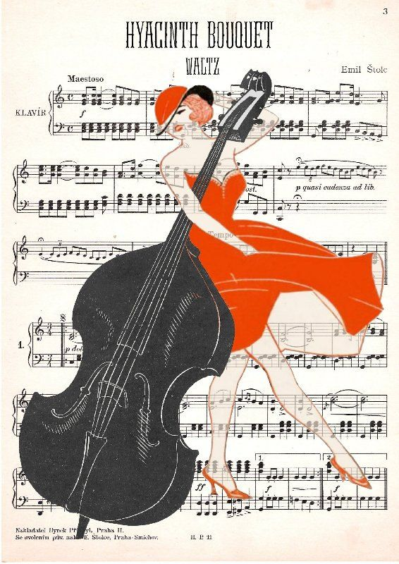 DOUBLE bass GIRL original ARTWORK mixed media by artretro on Etsy, $17.00