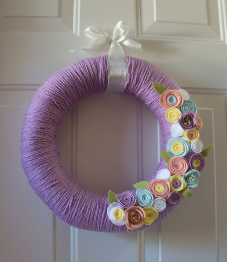 """Sale! 14"""" Handmade Spring Wreath Yarn Wrapped Easter Purple Pastel with Felt Flowers by TheQuillery on Etsy"""