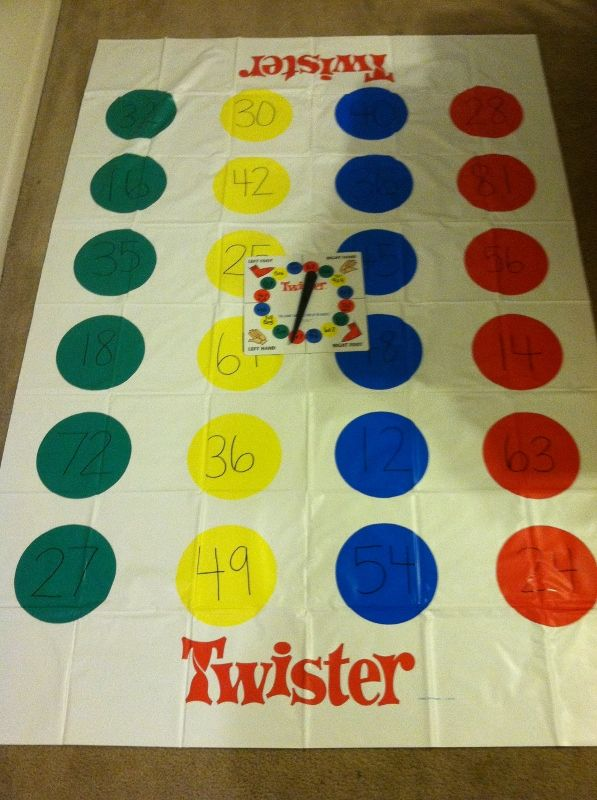 Multiplication Twister. The mat has the products and the spinner has the facts. Ex. Call out 8x7, students must find 56 on the mat. Each dot has a different multiplication product, but you can make it according to the facts your students are studying.