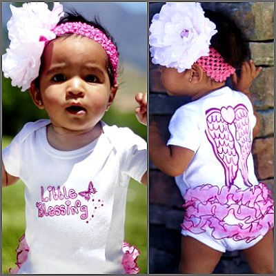 Little Blessing Ruffled Onesie.  With precious angel wings on a adorable one piece outfit with fancy ruffles, there is no better way to show off how blessed your little one truly is and nothing is more adorable than a little innocent ruffled booty! With 'Little Blessing' printed across the front and sweet angel wings on the back, this ruffled one piece is a fun addition to your little angel's wardrobe!