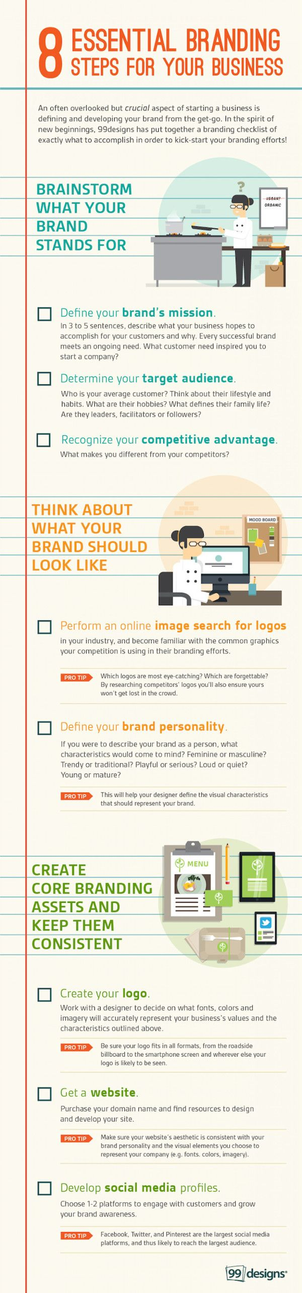 8 tips for small-business #branding: This #infographic from 99 Designs offers advice on how to make your small business' brand really shine.