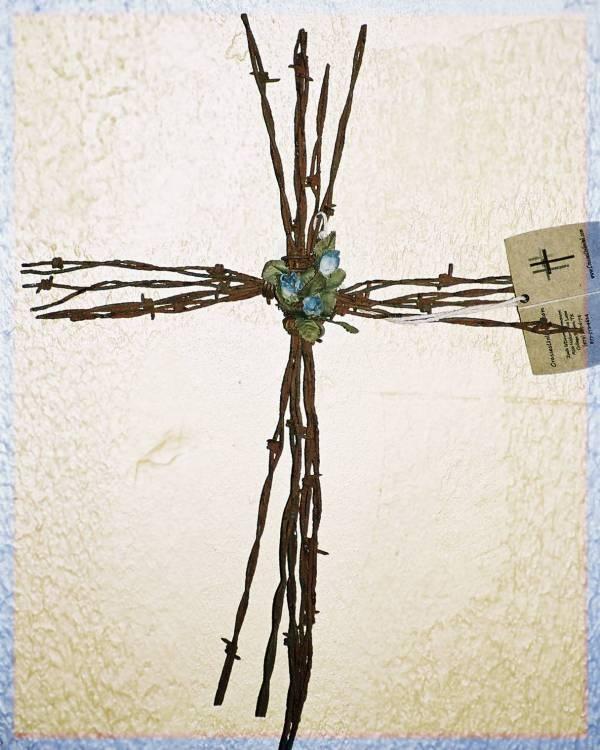 barb wire cross  http://crossesunlimited.homestead.com/handmadecrosses.html