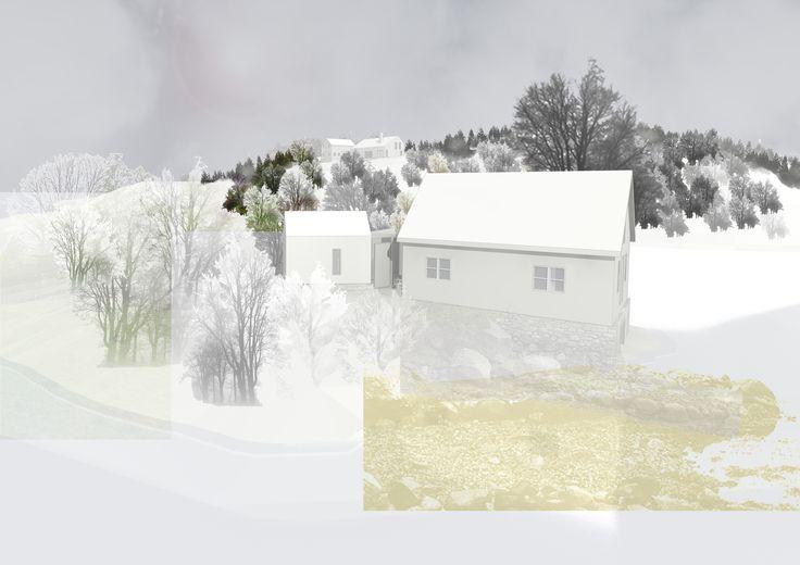 Architectural rendering + Collage // Illustrator + Photoshop // Rebuilding boat house brainstorming // Arkitektkontoret Brekke Helgeland Brekke AS