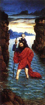 Дирк Боутс (Dirk Bouts) - Святой Христофор. (Правая часть чась алтаря Жемчужина Брабанта )
