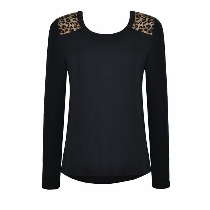LEOPARD INSERT SWEAT TOP