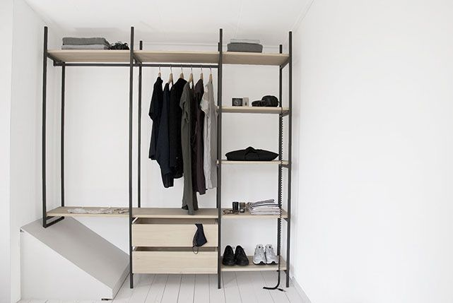 Tulip twins, Nike air Huarache, Bone/sail, Dr Martens, COS, wardrobe, closet design, wood, metal, minimal and grey scale. Collaboration http://www.lisamalousmits.nl together with http://jannontwerp.nl