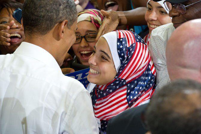 Proud American! Girl Wearing American Flag Hijab Meeting Obama
