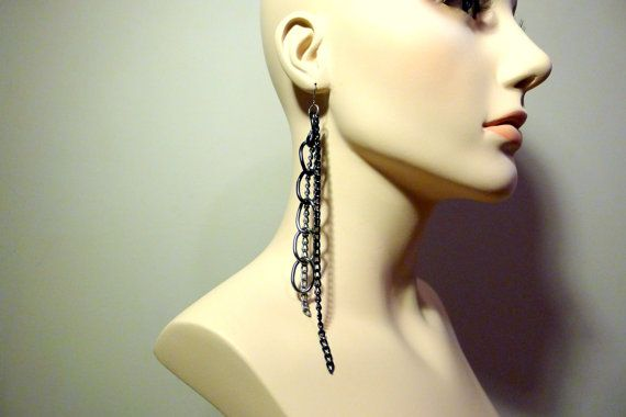 Shoulder Duster Earrings  Industrial  Black and by Lconstructed