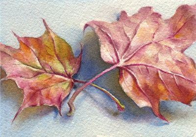 Autumn leaf-3. ACEO by OlgaSternik on DeviantArt