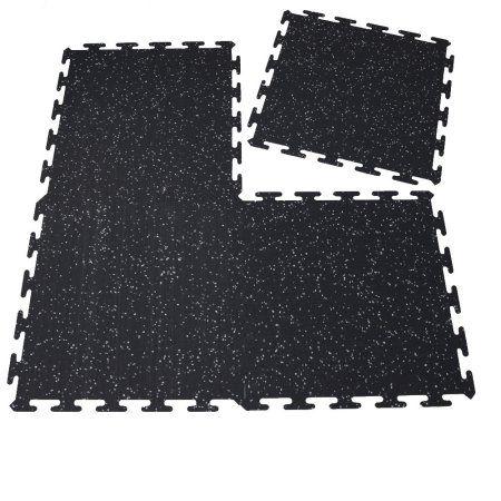 Interlocking Rubber Mats 20 inchx20 inch,Treadmill Mat,Gym Mat, Exercise Mat,Fitness Floor(6 Packs), Black