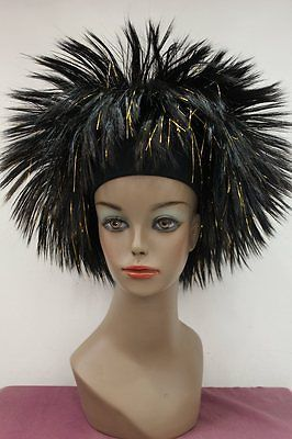 Carnival wig Black with gold Afro fluffy party Cosplay headband wig DFTLZ32