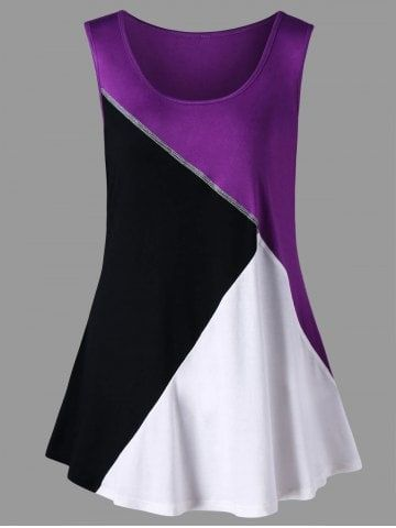 Plus Size Color Block Scoop Neck Tank Top