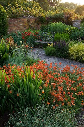 nice garden design around walkway