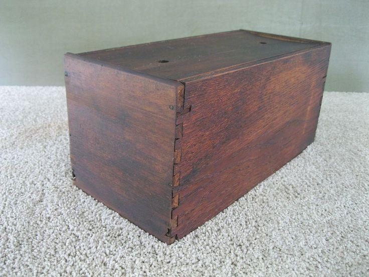 Antique Box Primitive Dovetailed Wood, False Bottom