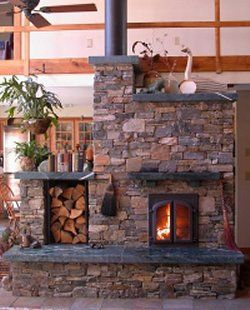 Earthsheltered home with Finnish Masonry stove-mine would have a wood door to the outside
