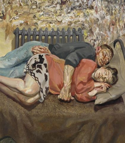 Painted in 1992 and sold for $11.4 million by Christie's New York in November 2007, presents Freud's daughter Isobel Boyt in her husband's arms, sprawled on a grim bed, appearing to be asleep.  This is an interesting painting with a sense of emotional presence and intimacy