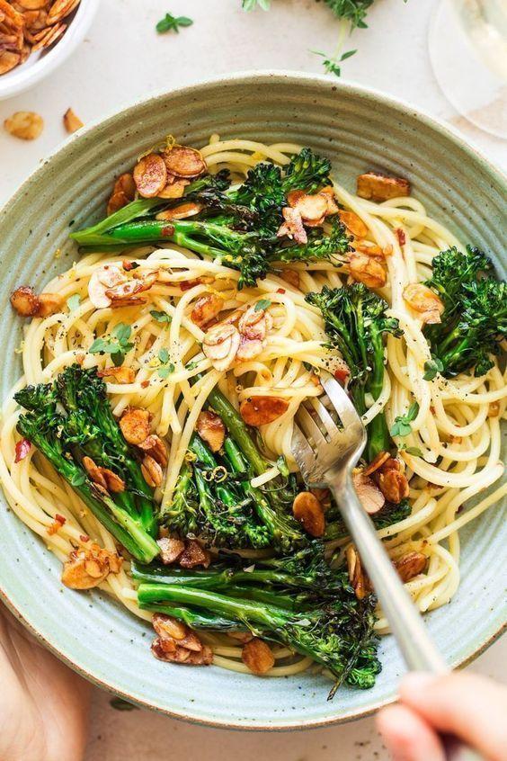 Vegan Broccoli Pasta With Almond Bacon Broccoli Pasta Vegetarian Recipes Healthy