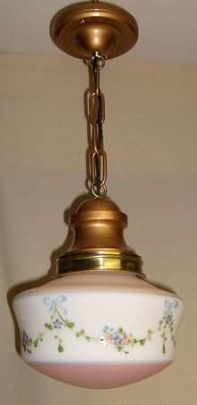 Here is a freshly restored brass pendant light of 1924 vintage in the arts and crafts style. This beauty measures 47/8 in diameter at the ceiling canopy, the shade is 8 in diameter, and fixture will...