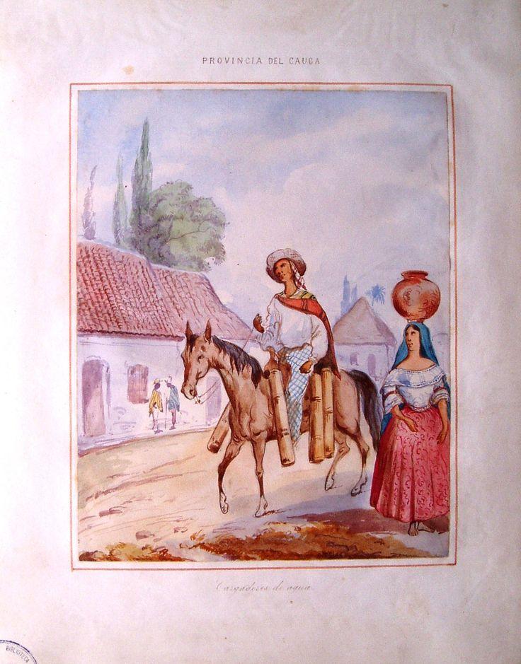 """""""Cargadores de agua"""", de Manuel María Paz, 1853. Provincia del Cauca. BNC, n. 4994."""