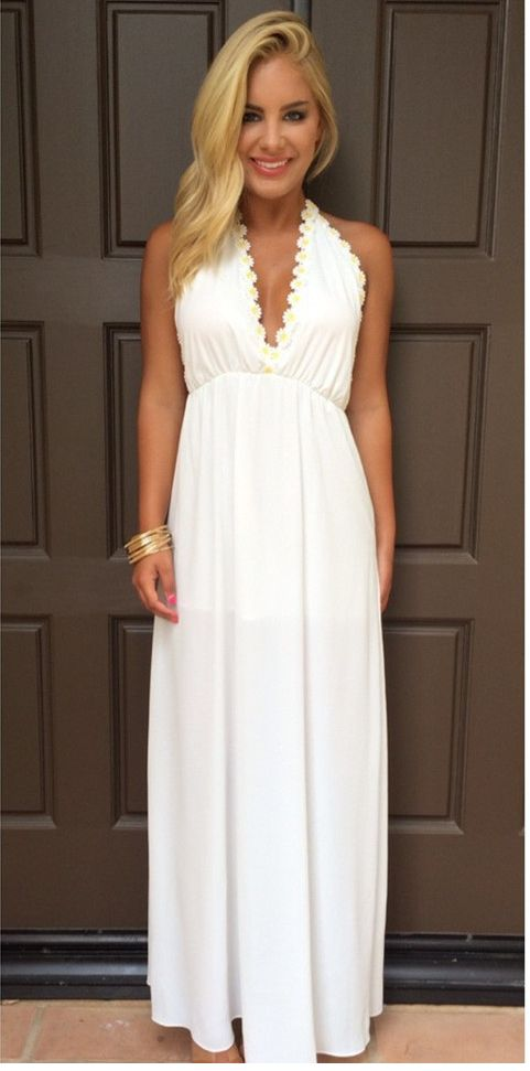 Modest Prom Dresses,Sexy New Prom Dress,White V-Neck Evening Gowns Backless Maxi Dresses